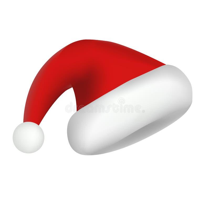 Ícone do chapéu de Papai Noel, estilo realístico ilustração stock