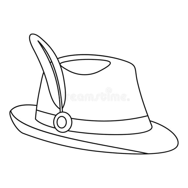 Ícone do chapéu de Tirol, estilo do esboço ilustração stock