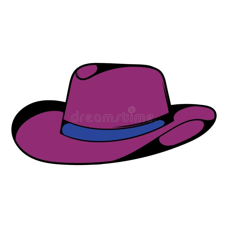 Ícone do chapéu de vaqueiro, desenhos animados do ícone ilustração stock