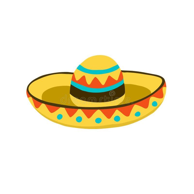 Ícone do chapéu do sombreiro ilustração stock