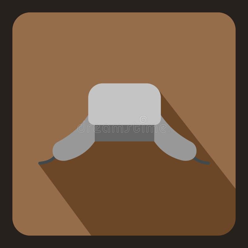 Ícone do chapéu do homem de Ushanka, estilo liso ilustração stock