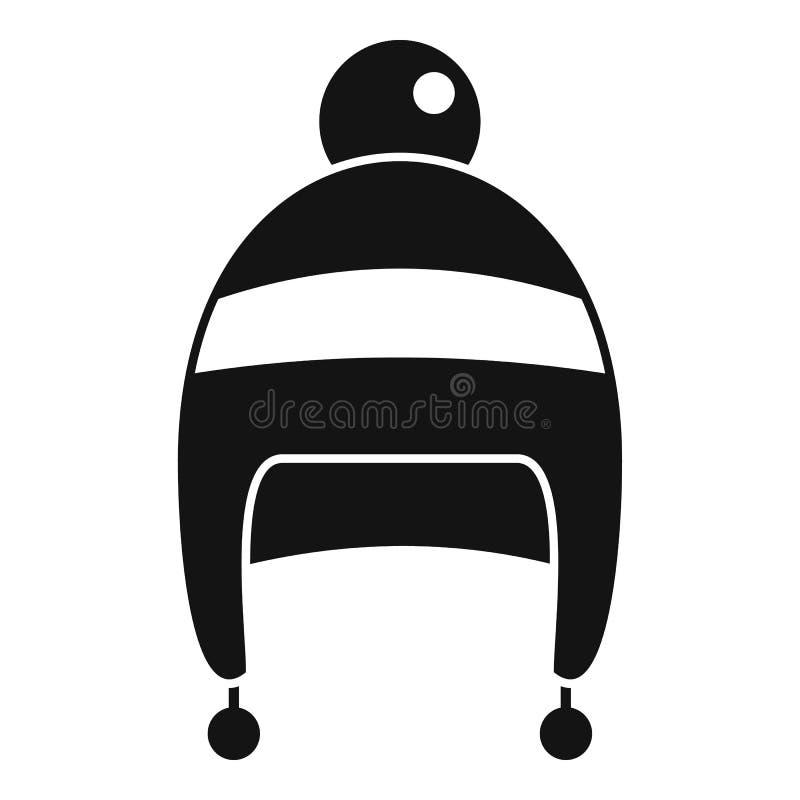 Ícone do chapéu do inverno do menino, estilo simples ilustração stock