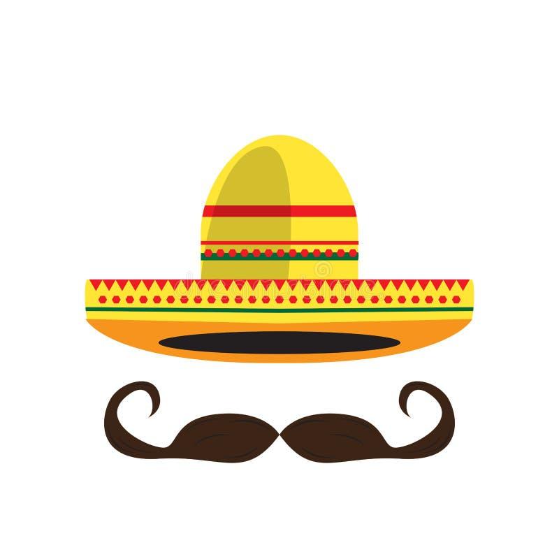 Ícone do chapéu mexicano ilustração royalty free