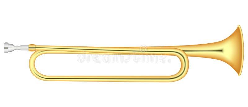 Ícone do chifre do ouro, estilo realístico ilustração stock