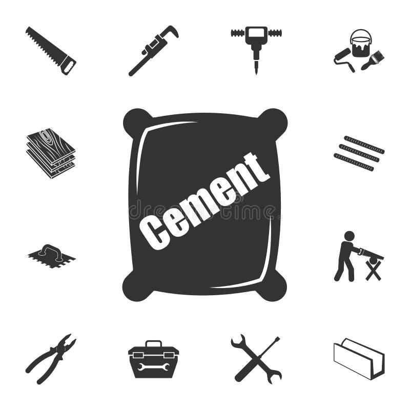 Ícone do cimento Grupo detalhado de ícones dos materiais de construção Projeto gráfico da qualidade superior Um dos ícones da col ilustração royalty free