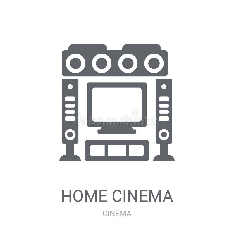 Ícone do cinema da casa Conceito na moda do logotipo do cinema da casa no backg branco ilustração do vetor