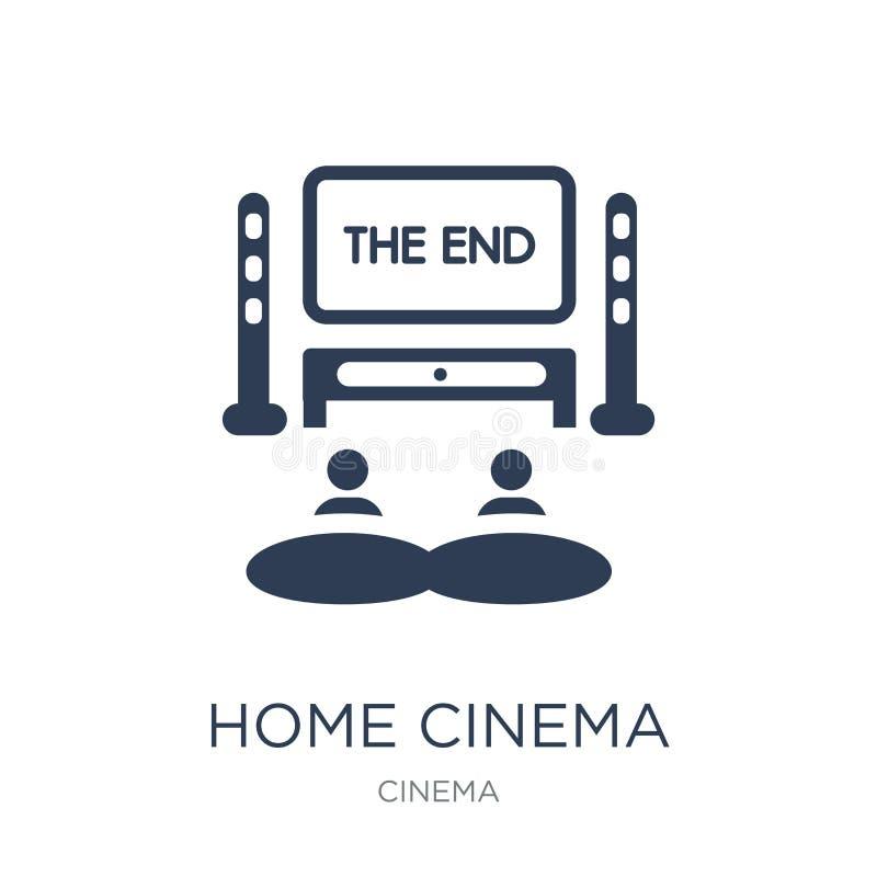 Ícone do cinema da casa Ícone liso na moda do cinema da casa do vetor em b branco ilustração do vetor