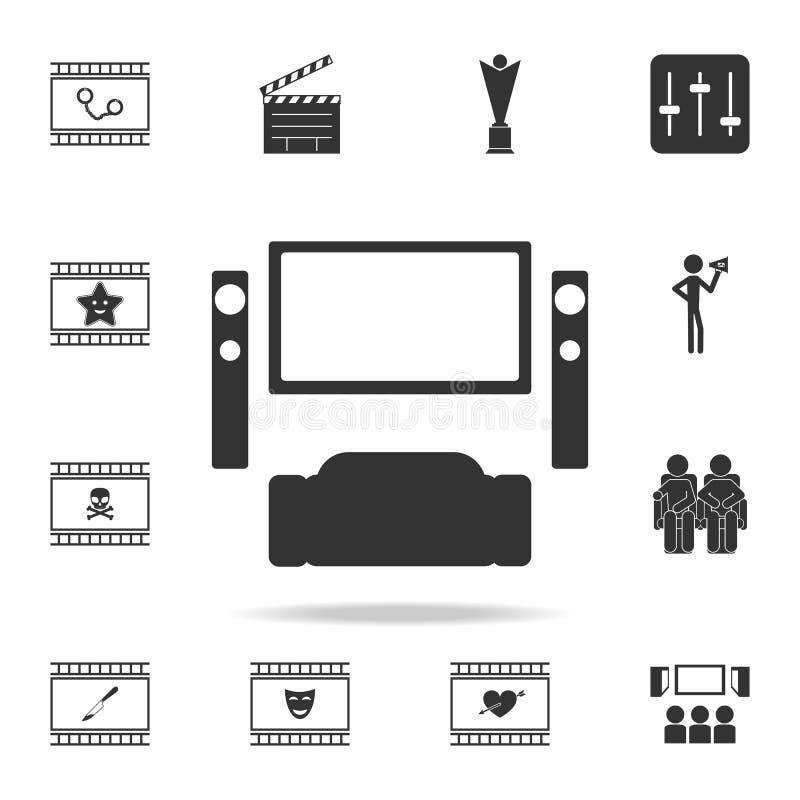 Ícone do cinema em casa Grupo de ícones do elemento do cinema Projeto gráfico da qualidade superior Sinais e ícone para Web site, ilustração stock
