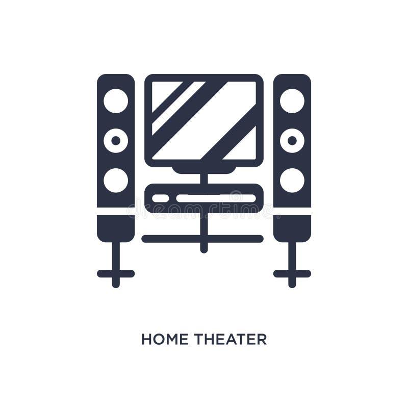 ícone do cinema em casa no fundo branco Ilustração simples do elemento do conceito do cinema ilustração do vetor