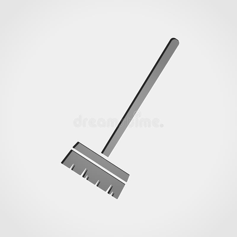 Ícone do cinza da escova ilustração royalty free