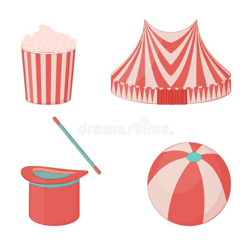 Ícone do circo ajustado: pavilhão, chapéu mágico com varinha, bola e pipoca para seu projeto no estilo dos desenhos animados Ilus ilustração stock