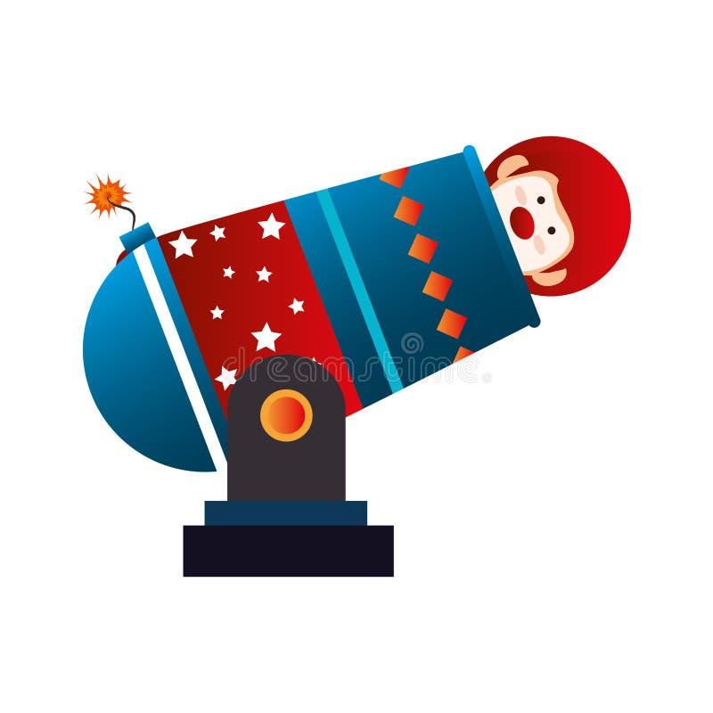 Ícone do circo do canhão do palhaço ilustração royalty free