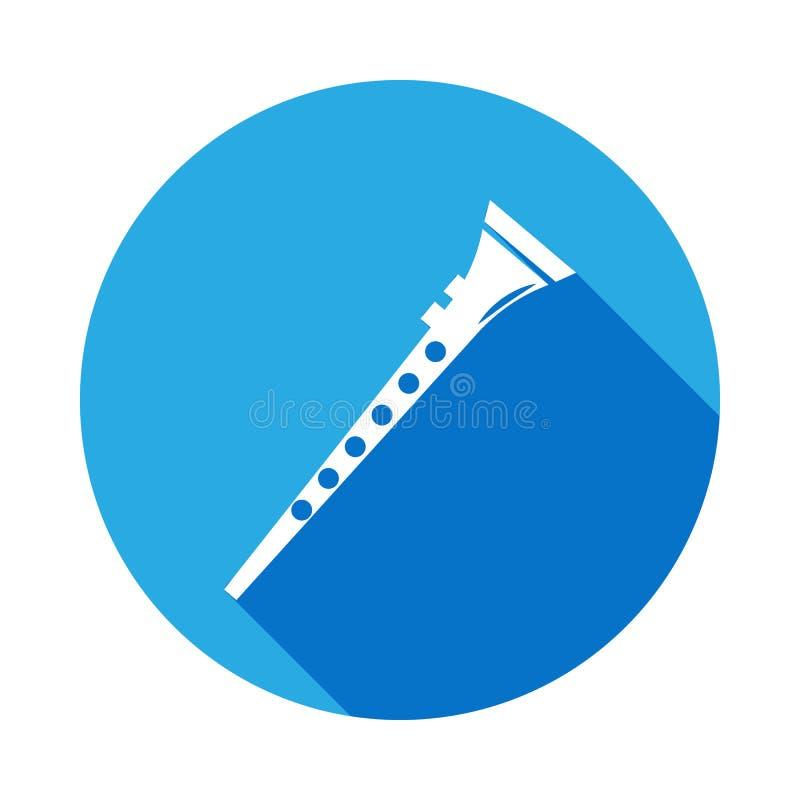 ícone do clarinete com sombra longa Elemento da ilustração da música Sinal superior do projeto gráfico da qualidade Os sinais e o ilustração stock