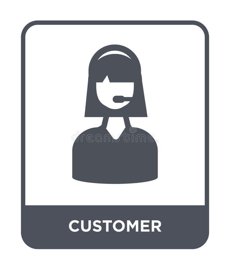 ícone do cliente no estilo na moda do projeto Ícone do cliente isolado no fundo branco plano simples e moderno do ícone do vetor  ilustração stock