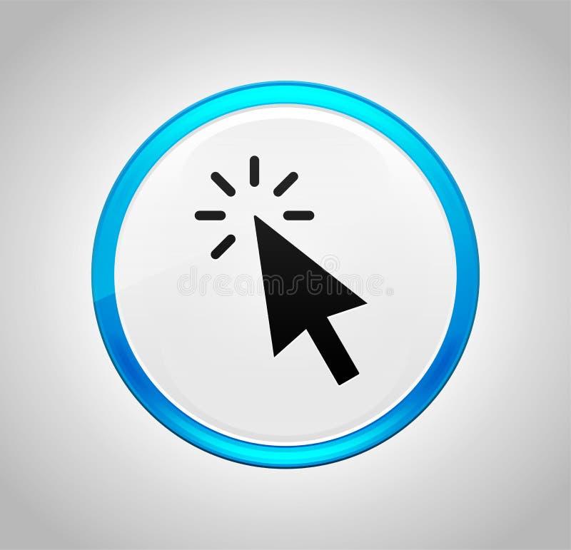 Ícone do clique do cursor em volta da tecla azul ilustração do vetor