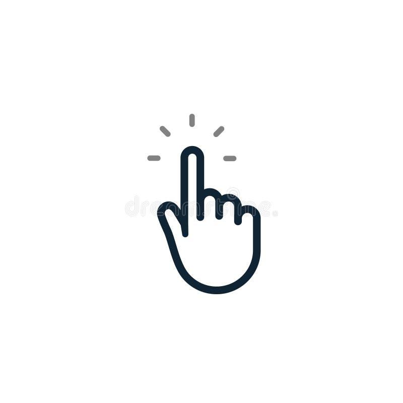 Ícone do clique do ponteiro da mão Símbolo isolado, seta do toque do rato do clique do dedo do botão do cursor da Web ilustração royalty free