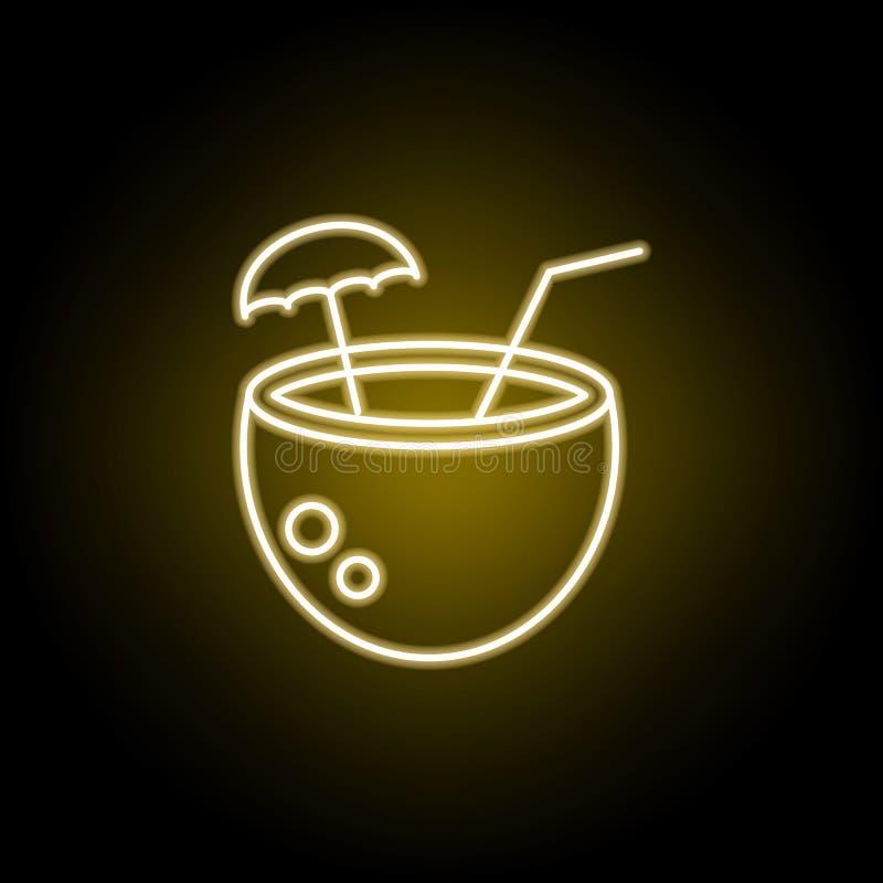 ?cone do cocktail do coco no estilo de n?on Elemento da ilustra??o do curso Os sinais e os s?mbolos podem ser usados para a Web,  ilustração do vetor