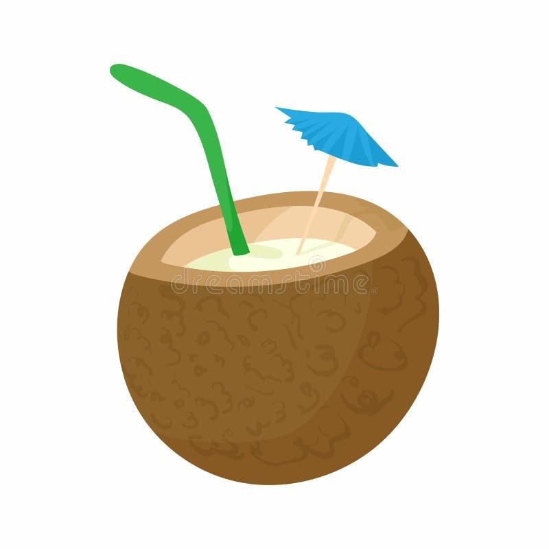 Ícone do cocktail do coco, estilo dos desenhos animados ilustração royalty free