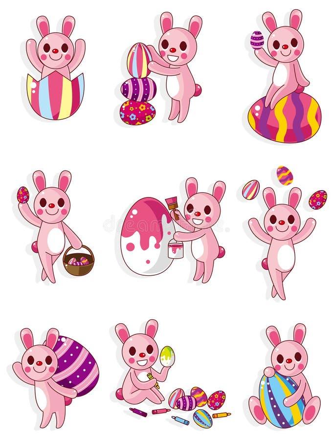 Ícone do coelho e do ovo de easter dos desenhos animados ilustração royalty free