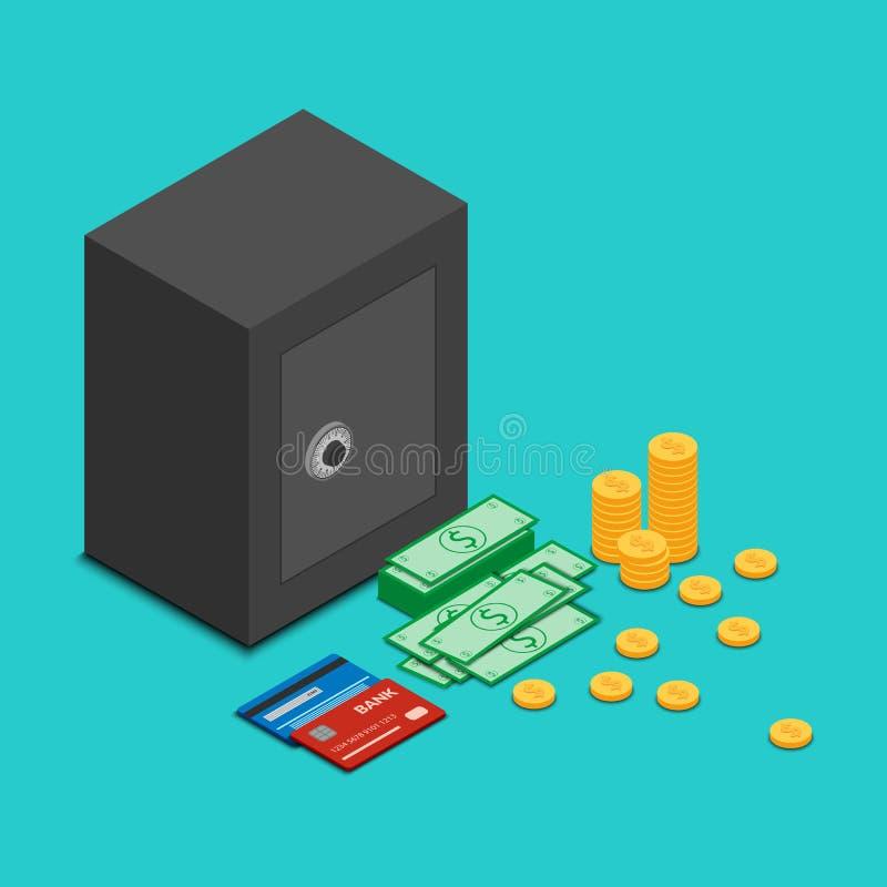 Ícone do cofre forte fechado com dinheiro ilustração stock
