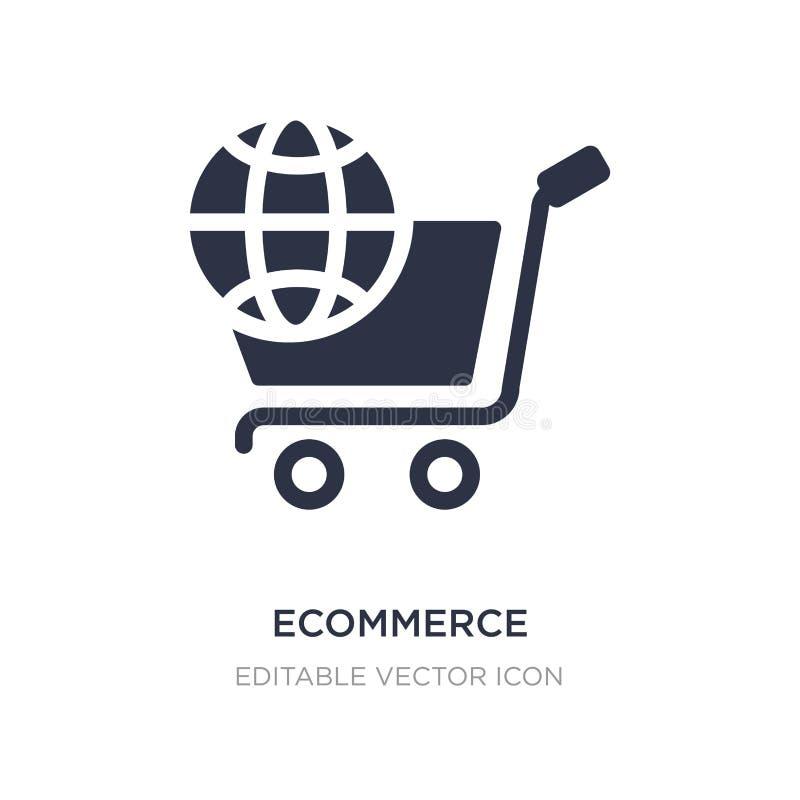 Ícone do comércio eletrónico no fundo branco Ilustração simples do elemento do conceito de mercado dos meios sociais ilustração stock