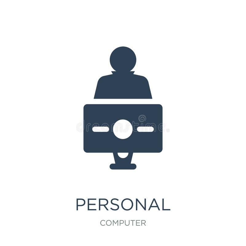 ícone do computador pessoal e do trabalhador no estilo na moda do projeto ícone do computador pessoal e do trabalhador isolado no ilustração royalty free