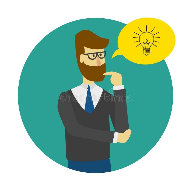 Ícone do conceito da ideia com homem, bolha e ampola ilustração stock