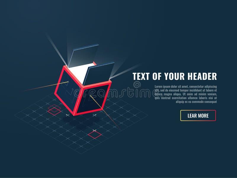 Ícone do conceito de comprar o produto digital, adição do jogo, bloco do armazenamento de dados, vetor isométrico do servidor de  ilustração royalty free