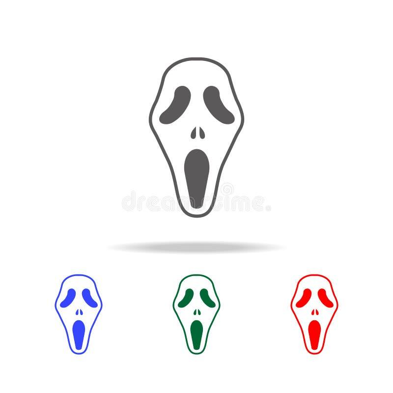 Ícone do conceito de Dia das Bruxas da máscara do grito de Ghost Elementos de Dia das Bruxas em multi ícones coloridos Ícone supe ilustração stock