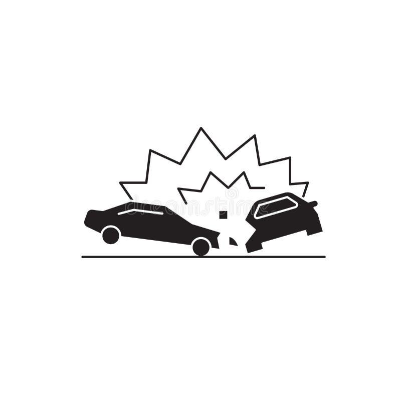 Ícone do conceito do vetor do preto do acidente de trânsito Ilustração lisa do acidente de trânsito, sinal ilustração royalty free