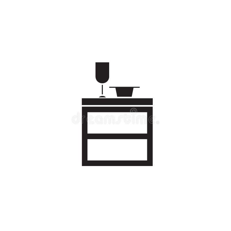 Ícone do conceito do vetor do preto do armário da cozinha Ilustração lisa do armário da cozinha, sinal ilustração stock