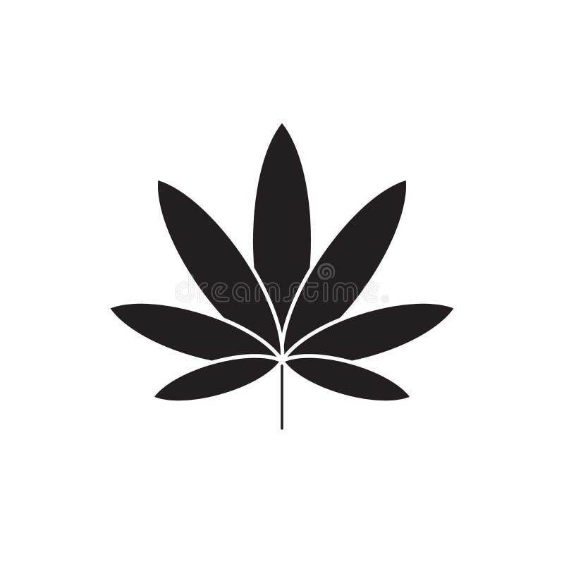 Ícone do conceito do vetor do preto do cannabis Ilustração lisa do cannabis, sinal ilustração stock