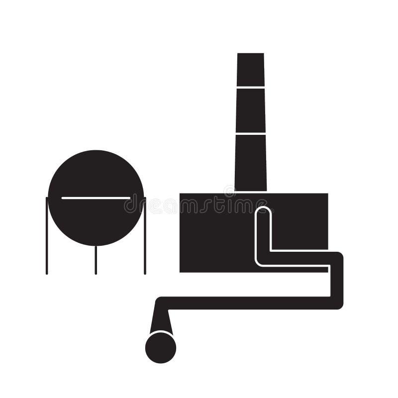 Ícone do conceito do vetor do preto do central química Ilustração lisa do central química, sinal ilustração do vetor