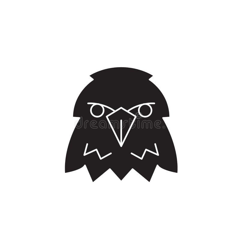 Ícone do conceito do vetor do preto da cabeça de Eagle Ilustração lisa da cabeça de Eagle, sinal ilustração stock