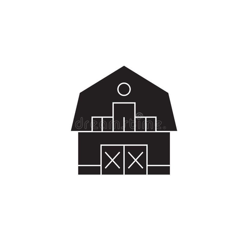 Ícone do conceito do vetor do preto da casa de rancho Ilustração lisa da casa de rancho, sinal ilustração royalty free