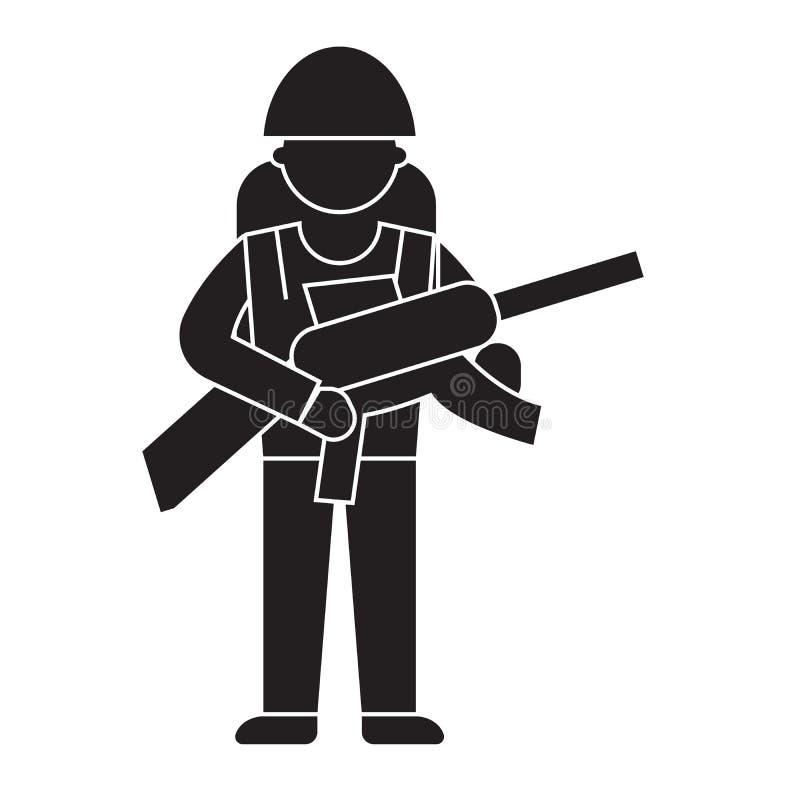 Ícone do conceito do vetor do preto da engrenagem do soldado Ilustração lisa da engrenagem do soldado, sinal ilustração royalty free