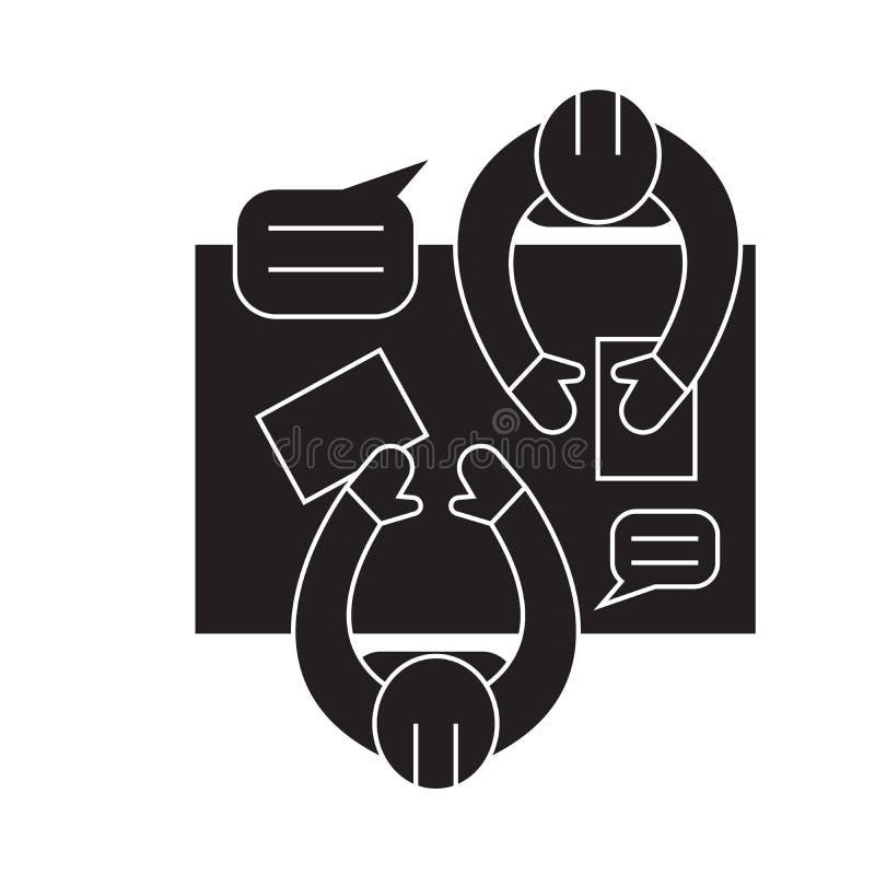Ícone do conceito do vetor do preto da oficina do negócio Ilustração lisa da oficina do negócio, sinal ilustração royalty free