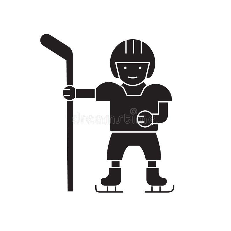 Ícone do conceito do vetor do preto do jogador de hóquei Ilustração lisa do jogador de hóquei, sinal ilustração stock