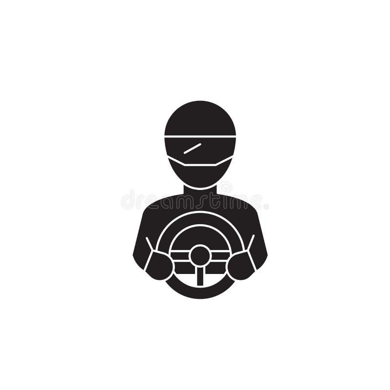 Ícone do conceito do vetor do preto do piloto Ilustração lisa do piloto, sinal ilustração stock