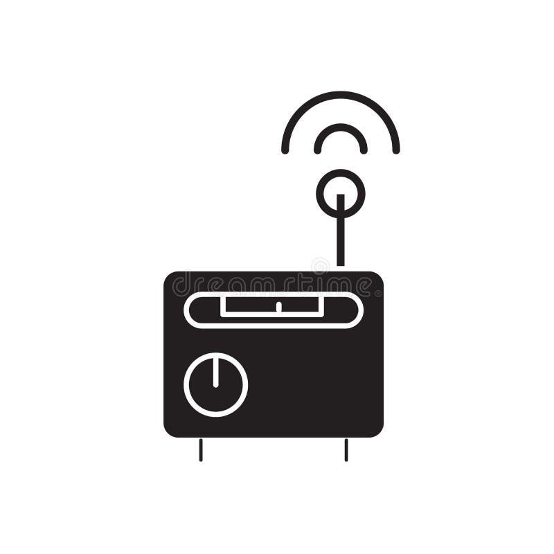 Ícone do conceito do vetor do preto do receptor de rádio Ilustração lisa do receptor de rádio, sinal ilustração do vetor