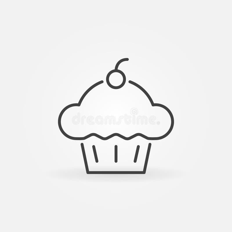 Ícone do conceito do vetor do queque Linha símbolo do bolo do copo do vetor ilustração do vetor