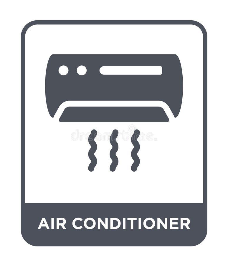 ícone do condicionador de ar no estilo na moda do projeto Ícone do condicionador de ar isolado no fundo branco ícone do vetor do  ilustração stock