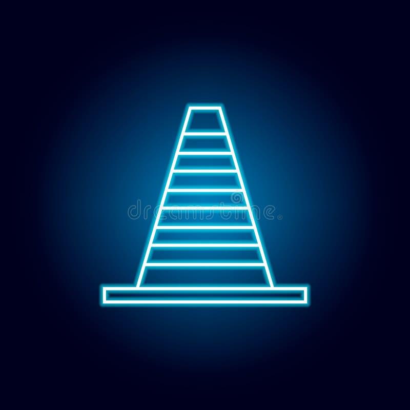 ícone do cone da estrada no estilo de néon azul Elemento da compet?ncia para o conceito e o ?cone m?veis dos apps da Web Linha fi ilustração do vetor