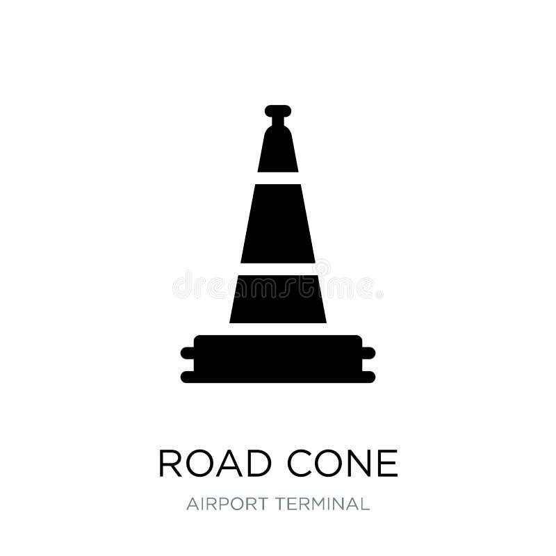 ícone do cone da estrada no estilo na moda do projeto ícone do cone da estrada isolado no fundo branco plano simples e moderno do ilustração do vetor