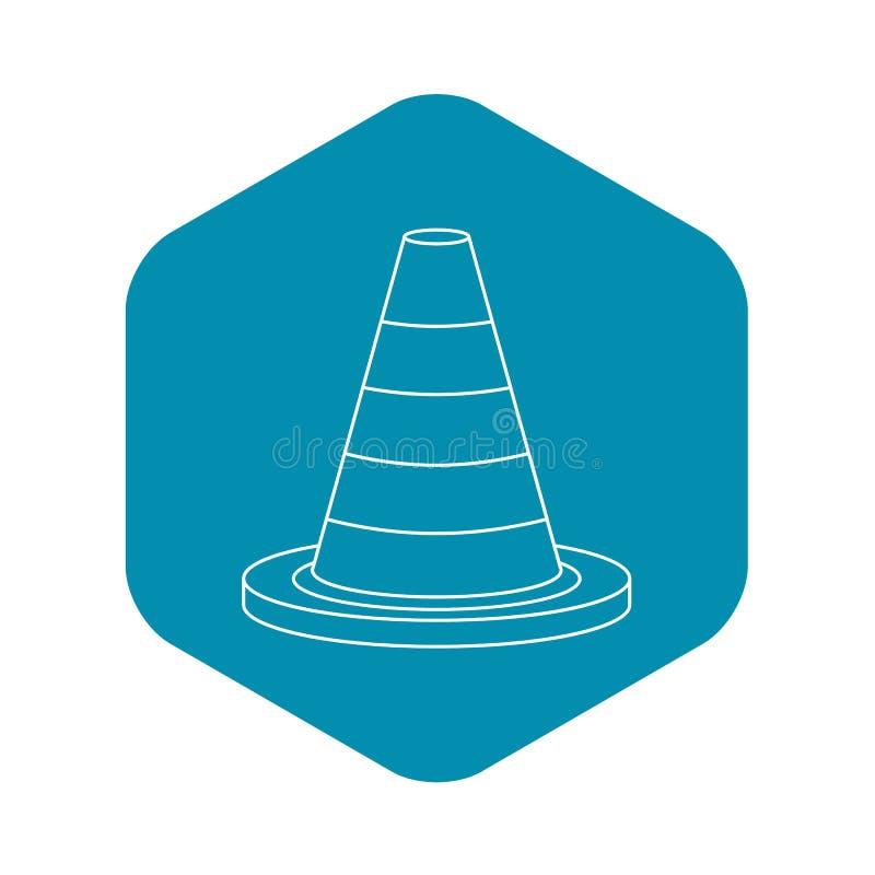 Ícone do cone da segurança de tráfego, estilo do esboço ilustração royalty free