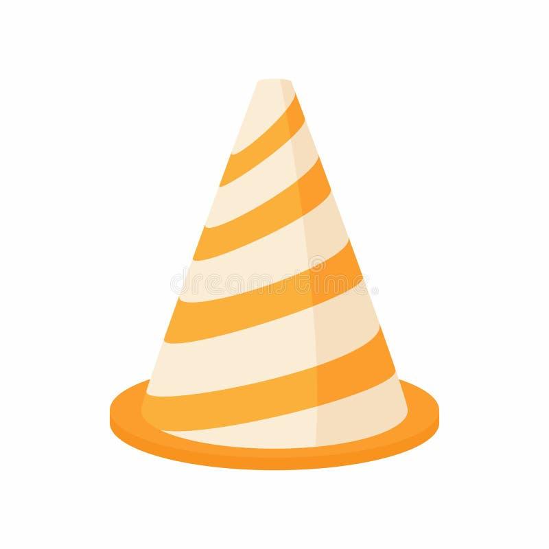 Ícone do cone do tráfego, estilo dos desenhos animados ilustração stock