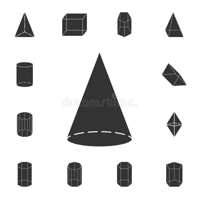 Ícone do cone Grupo detalhado de figura geométrica Projeto gráfico superior Um dos ícones da coleção para Web site, design web, m ilustração stock