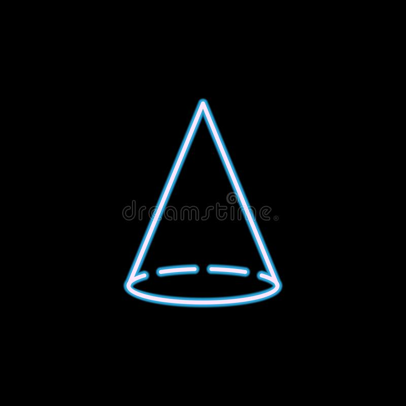 ícone do cone no estilo de néon Uma da figura geométrica ícone da coleção pode ser usado para UI, UX ilustração stock