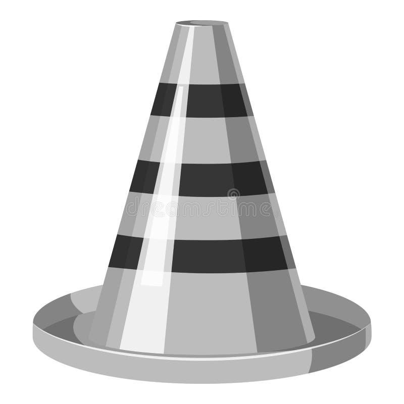 Ícone do cone do tráfego, estilo monocromático cinzento ilustração stock