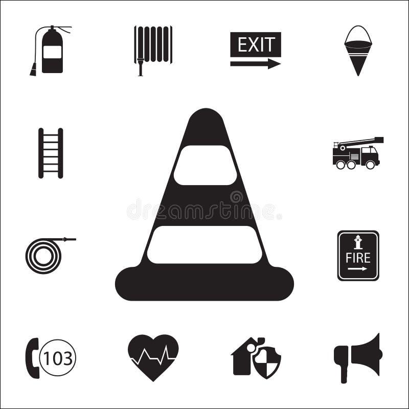 Ícone do cone do tráfego Grupo detalhado de ícones do protetor do fogo Sinal superior do projeto gráfico da qualidade Um dos ícon ilustração stock